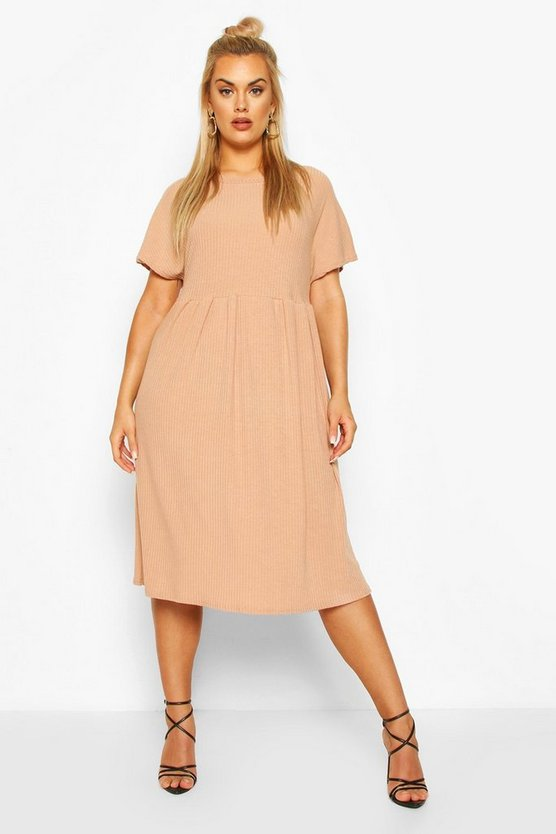 Plus Soft Rib Midi Smock Dress