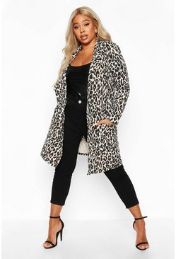 Womens Tan Plus Leopard Print Duster
