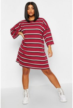 Womens Berry Plus Striped Ringer T-Shirt Dress