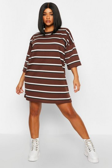 Chocolate Plus Striped Ringer T-Shirt Dress