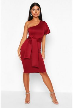 Womens Berry Petite Angel Sleeve Tie Detail Midi Dress