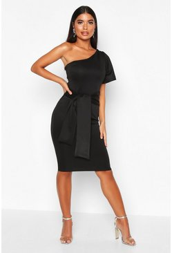 Womens Black Petite Angel Sleeve Tie Detail Midi Dress