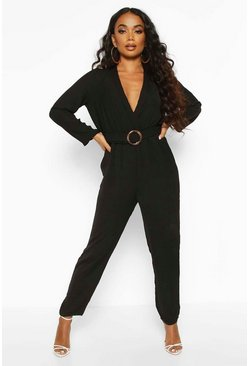 Womens Black Petite Wrap O-Ring Jumpsuit