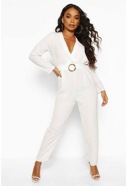 Ivory Petite Wrap O-Ring Jumpsuit