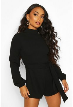 Black Petite Open Back High Neck Playsuit