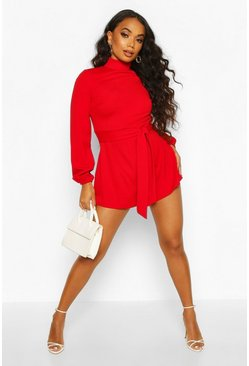 Womens Red Petite Open Back High Neck Playsuit