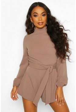 Taupe Petite Open Back High Neck Playsuit