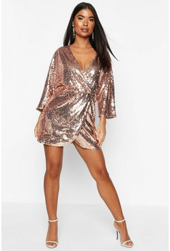 Womens Rose Petite Drape Wrap Sequin Dress