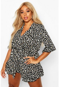 Dam Black Plus Leopard Metallic Smudge Ruffle Wrap Playsuit