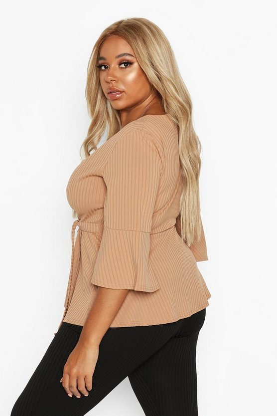 Plus Rib Flare Sleeve Peplum Top