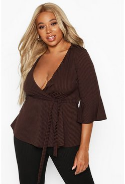 Chocolate Plus Rib Flare Sleeve Peplum Top