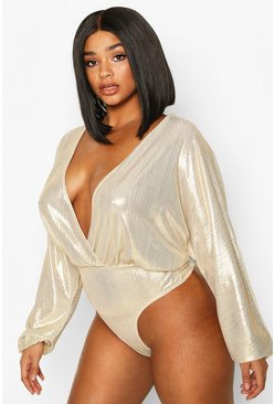 Womens Cream Plus Metallic Wrap Longsleeve Bodysuit
