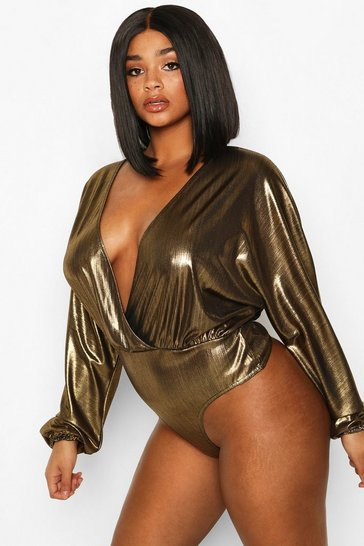 Gold Plus Metallic Wrap Longsleeve Bodysuit