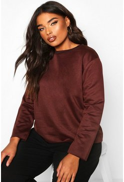 Womens Chocolate Plus Oversized Lightweight Raw Hem Sweat