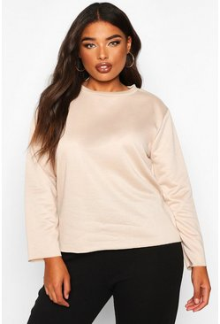 Stone Plus Oversized Lightweight Raw Hem Sweat
