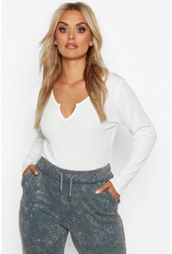 White Plus Rib Notch Front Longsleeve T-Shirt
