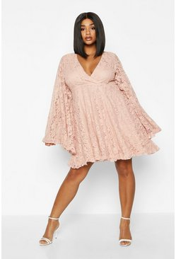 Womens Blush Plus Lace Ruffle Wide Sleeve Ruffle Skater Dress