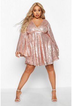 Womens Gold Plus Sequin Wide Sleeve Ruffle Skater Dress