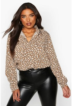 Womens Stone Plus Smudge Dalmatian Spot Utility Shirt