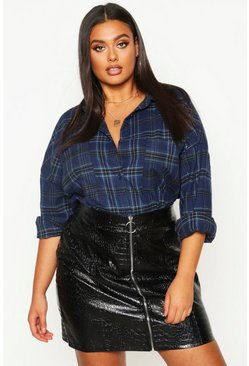 Womens Navy Plus Oversized Pocket Detail Check Shirt