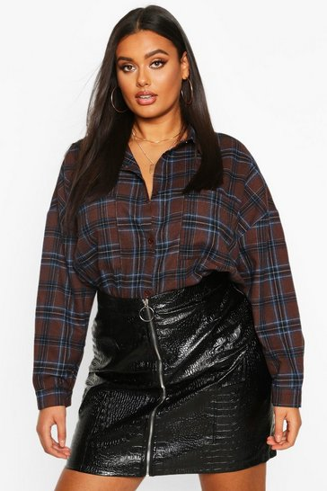 Womens Red Plus Oversized Pocket Detail Check Shirt