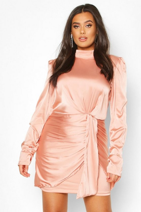 Taupe Plus High Neck Ruched Detail Satin Mini Dress