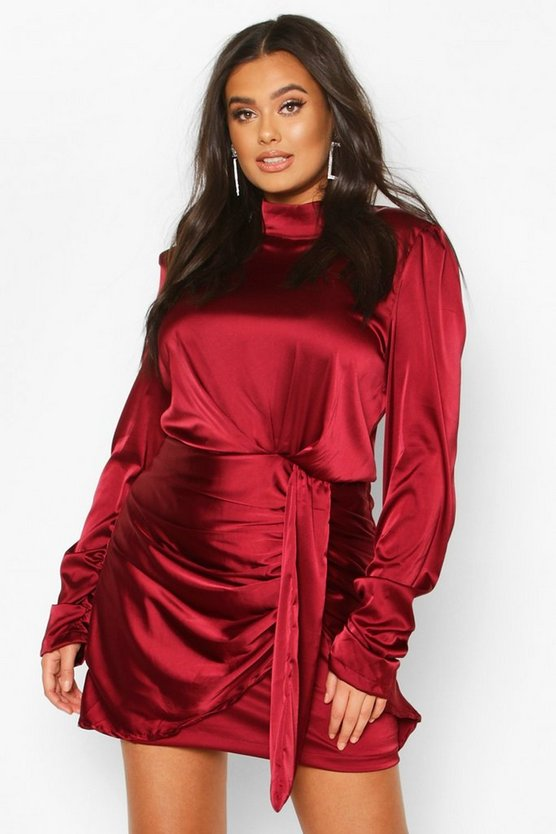 Plus High Neck Ruched Detail Satin Mini Dress