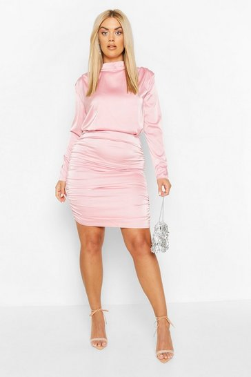 Blush Plus High Neck Ruched Back Satin Mini Dress