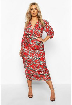 Womens Red Plus Woven Large Floral Rose Ruched Wrap Dress