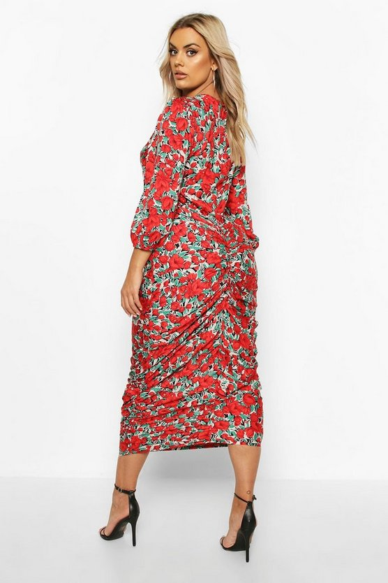 Plus Woven Large Floral Rose Ruched Wrap Dress