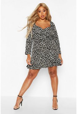 Black Plus Metallic Leopard Ruffle Hem Skater Dress