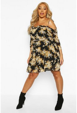 Womens Black Plus Floral Chiffon Open Shoulder Skater Dress