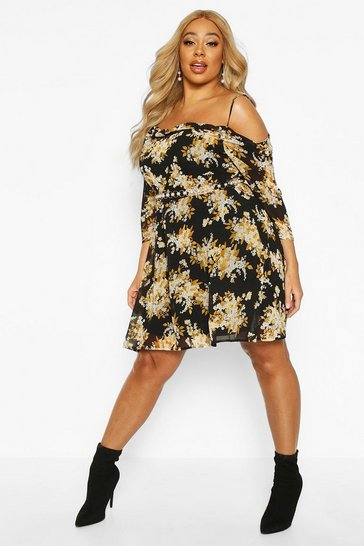 Black Plus Floral Chiffon Open Shoulder Skater Dress