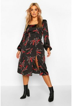 Womens Black Plus Floral Long Sleeve Midi Dress