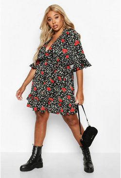 Womens Black Plus Floral Wrap Ruffle Skater Dress