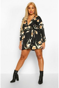 Black Plus Floral Satin Dress