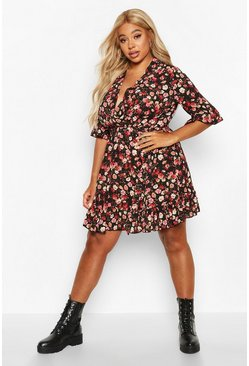 Womens Black Plus Floral Ruffle Wrap Skater Dress