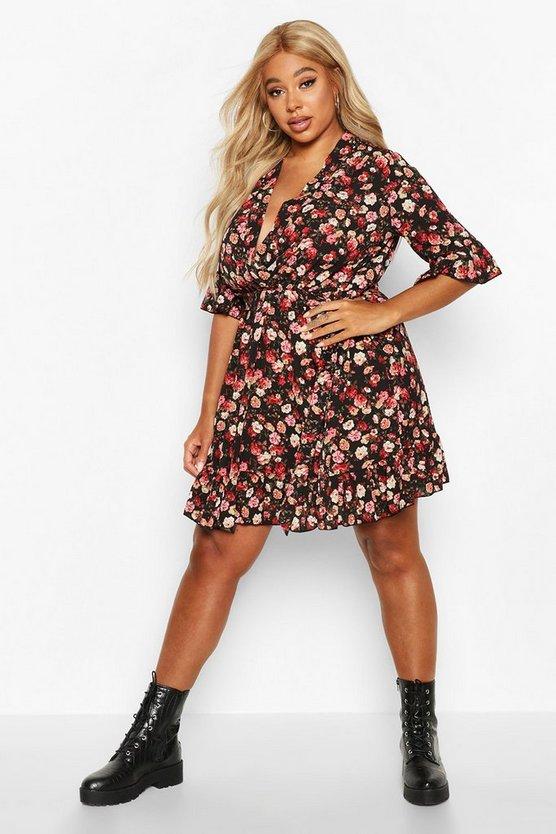 Plus Floral Ruffle Wrap Skater Dress