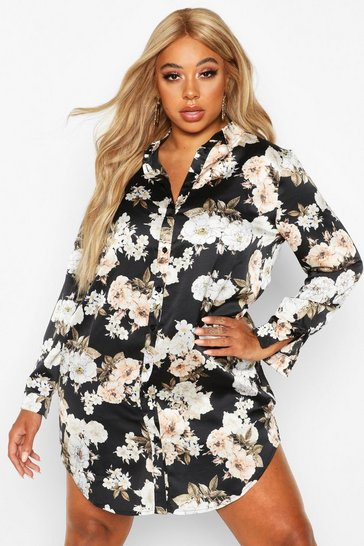 Womens Black Plus Floral Oversized Shirt Dress