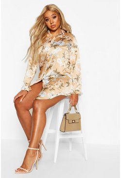 Womens Stone Plus Floral Oversized Shirt Dress