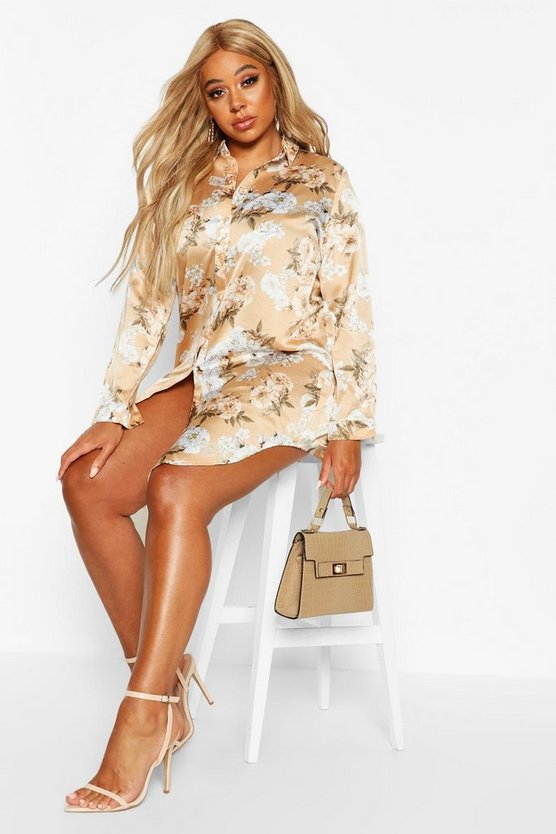 Plus Floral Oversized Shirt Dress by Boohoo