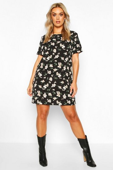 Womens Black Plus Floral Cap Sleeve Shift Dress