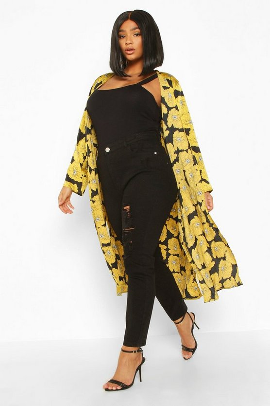 Plus Oversize Floral Midi Kimono
