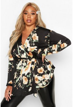 Womens Black Plus Dark Floral Satin Wrap Top