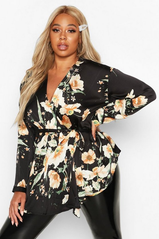 Plus Dark Floral Satin Wrap Top