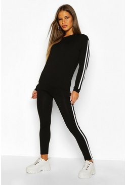 Womens Black Petite Side Stripe Loungewear Set