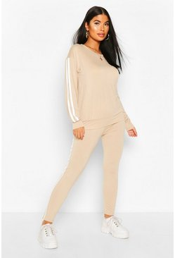 Stone Petite Side Stripe Loungewear Set