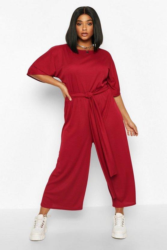 Plus Rib Short Sleeve Tie Waist Culotte Jumpsuit
