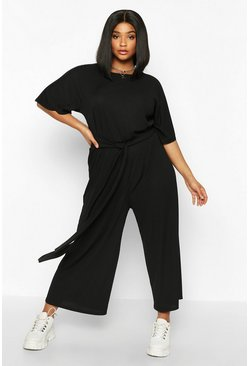 Womens Black Plus Rib Short Sleeve Tie Waist Culotte Jumpsuit