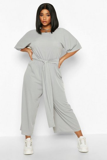 Womens Grey marl Plus Rib Short Sleeve Tie Waist Culotte Jumpsuit
